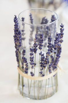 inspiration of candleholders lined in dried lavender