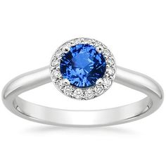 Sapphire Halo Diamond Ring #BrilliantEarth Very close to mine!!!  Looking forward to buying Adam's bad (spoiler alert - he wants sapphires in his band)