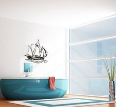 WALL VINYL STICKER DECALS ART MURAL SAILING SHIP CUTE DESIGN BATHROOM SV1977