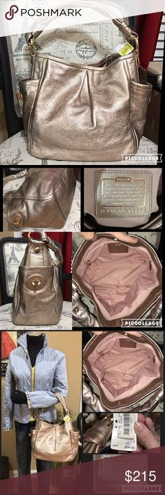 """Authentic ONE OF A KIND Coach RoseGold Leather Bag NYFW noted METALLICS ARE THE THING THIS WINTER!! This is the """"IT"""" Bag for Fall-Winter 2016! This gorgeous COACH metallic rose gold pebbled leather bag was purchased directly from Dillards and MSRP is $395! Metallic bags spice up any outfit, but this beautiful rose gold color is special and limited! Brand new with dustbag and the perfect present for the fashionista in the family! Large spacious bag! From the widest area approx 16' x 12' Coach…"""