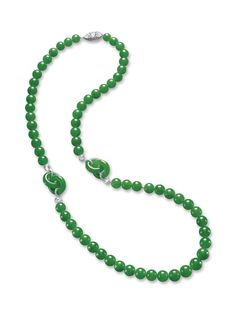 EXQUISITE JADEITE AND DIAMOND NECKLACE Composed of sixty-three graduated jadeite beads of highly translucent matching emerald green colour, highlighted by two jadeite double hoops of matching colour and translucency, linked by circular rose-cut diamonds, to a clasp set with pear and cushion-shaped rose-cut diamonds, edged by brilliant-cut diamonds, mounted in 18 karat white gold, length approximately 685mm.