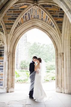 Couple portrait - Duke Chapel, Durham, NC  Read More: http://www.stylemepretty.com/mid-atlantic-weddings/2014/04/21/preppy-durham-north-carolina-wedding-at-the-carolina-inn/
