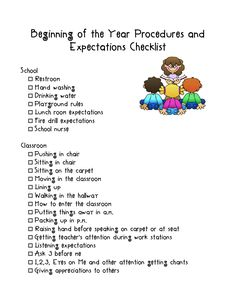 Beginning of the year checklist for procedures