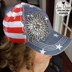 USA Floral Bling Baseball Hat