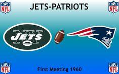 1960, National Football League (1st JETS-PATRIOTS), New York Jets < > New England Patriots #Jets #Patriots #NFL (L24335) Nfl Jets, Football Rivalries, Sports Logos, New York Jets, National Football League, New England Patriots, Logo Design, National Soccer League