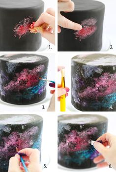 "Baker/cookbook author Heather Baird was so inspired by a book of photos from the Hubble space telescope that she created a ""Black Velvet Nebula Cake"" that is studded with edible white c…"