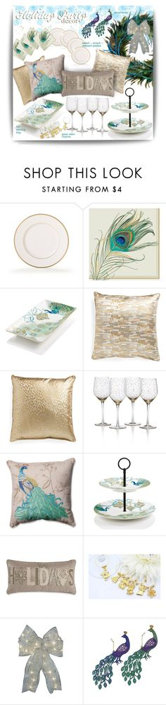 """""""Deck the Halls with Peacocks"""" by pwhiteaurora ❤ liked on Polyvore featuring interior, interiors, interior design, home, home decor, interior decorating, 222 Fifth, Pillow Perfect, Starlite Creations and HolidayParty"""