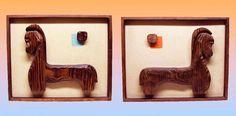 2 Rare Vintage 1950 s SET WITCO HORSE Mid Century Modern Tiki Wall Carving Art