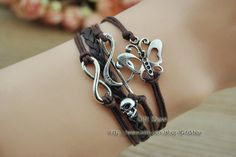 Infinity Music Butterfly Bracelet Brown wax rope by GiftShow, $2.99 Beautiful handmade bracelet, a gift.
