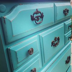 Turquoise dresser for craft room