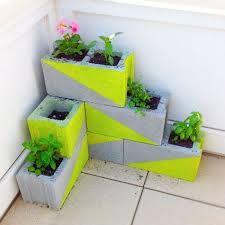 My DIY planter (concrete blocks + Cinder block planters - great for strawberry plants.