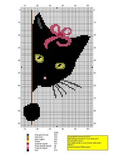 Black cat peeking around corner graph pattern