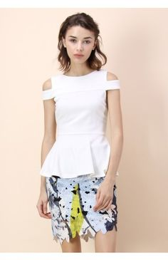 Fetching Cold-shoulder Peplum Top in White - Tops - Retro, Indie and Unique Fashion