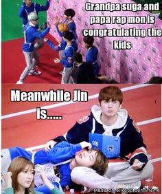 """Jin; """"I'am too tired, i want to rest. Rapmon appa and suga granpa, please take care of the boys"""" jin is flirting with ken, hahaha"""