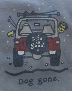 """All Things Jeep - Life Is good """"Dog Gone Skiing"""" Men's Short Sleeve Shirt in Shadow Blue"""
