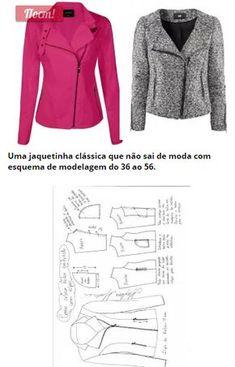 Jaqueta com zíper lateral e transpasse – DIY – molde, corte e costura – Marlene Mukai