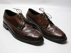 d1bc17b6220 Florsheim Mens Long Wingtip Brogue Men Brown Leather Lace Dress Shoes Sz 10  C  Florsheim