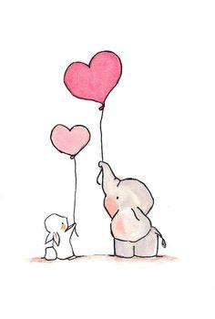 Fliegende Herzen Pink we archival print 8 x 10 - Diy Papier & Origami Cute Easy Drawings, Cute Animal Drawings, Kawaii Drawings, Cartoon Drawings, Elephant Balloon, Elephant Art, Tattoo Elephant, Cute Elephant Drawing, Sketch Art