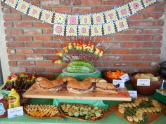 Jungle Party Buffet as part of my daughters birthday party. Jungle Party, Party Set, Luau Party, Rainbow Fruit Skewers, Crocodile Party, Mini Corn Dogs, Lays Potato Chips, Party Buffet, 6th Birthday Parties