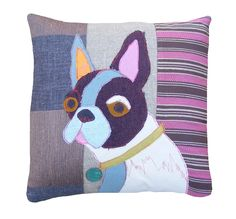 Billie the bull terrier Carola Van Dyke Applique Cushions, Wool Applique, Applique Patterns, Embroidery Applique, Fabric Art, Fabric Crafts, Sewing Crafts, Sewing Projects, Linen Pillows