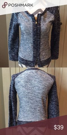 J.Crew Marled Sweater Jacket Navy and white marled knit sweater jacket by JCrew. Double zip front. Great condition. Only worn a few times. J. Crew Jackets & Coats