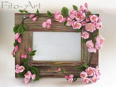 Wedding frame for wedding photo. Quilled Creations, Polymer Clay Creations, Polymer Clay Crafts, Rose Frame, Flower Frame, Frame Crafts, Diy Frame, Diy And Crafts, Paper Crafts