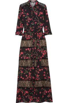 ALICE AND OLIVIA Sina lace-paneled floral-print chiffon maxi dress. #aliceandolivia #cloth #