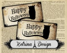 Vintage Happy Halloween Labels Gift Tags instant by KetrinaDesign