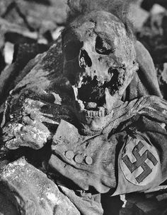 A Party official lays partially cremated in Dresden after the Firebombing in February, 1945