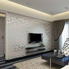 Hanmero European Fashion High-grade Big Rose Flower Pattern Embossed Flocking PVC Wallpaper Roll for Living Room Bedroom 0.53m*10m=5.3㎡ Silver: Amazon.co.uk: Kitchen & Home