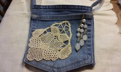 Denim Bag, Jeans Pocket Bag, Pouch, Upcycled Jeans FREE SHIPPING by CottageStreetStation on Etsy