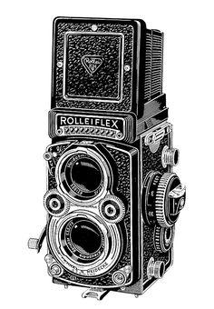 Rolleiflex Camera Ad Line Art - 1960 - Camera Antique Cameras, Old Cameras, Vintage Cameras, Rolleiflex Camera, Leica, Camera Art, Classic Camera, Ansel Adams, Pencil Art Drawings