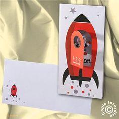 Faire-part naissance garçon fusée de l'espace - NW14-055
