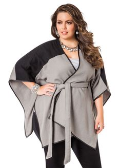 Belted Two-Tone Wrap - Ashley Stewart