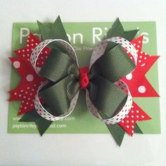 Holiday stacked boutique bow by PaytonRileys on Etsy, $7.00 25% off entire shop!
