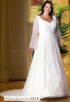 Glamorous A-line Long-Sleeve V-neck chapelle Broderie Floor-Length Taille Plus robe de mariée