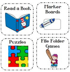 "These are called ""Fast Finishers"". When a student finishes early, they can look at the board and see what the ""fast finisher"" is for the day. It can be a puzzle, reading a book, math games, etc."