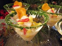 Fresh Scallop and Pineapple Ceviche: add mango, remove the bass, replace grapefruit juice with orange juice and use extra lime.  Put cilantro into the marinade.  Perfect.