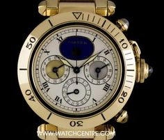 #Cartier 18k Yellow Gold Three #TimeZone #Pasha Gents #W3001851