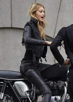 Going hell for leather: She rocked an edgy leather jacket with sleek matching trousers tha...