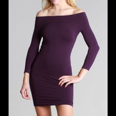 Purple Off Shoulder Seamless Dress With 3/4 Sleeve A great layering piece that won't ride or roll up. All Nikibiki items are seamless, one size fits all and super stretchy for great coverage.  Standard Features:  Care Instructions for all: hand wash cold water, hand dry. Made in USA Material detail:  92% Nylon 8% Spandex One Size Fits All nikibiki Dresses
