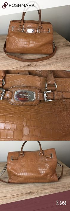 Michael Kors Hamilton bag It is a beautiful brown croc embossed leather. The handles do show wear and are dirty as seen in photos, but other side clean. Look at the pictures carefully. Smoke free home Michael Kors Bags Shoulder Bags