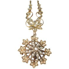 15ct Edwardian Seed Pearl & Diamond Necklace-Detachable pin/pendant-FREE SHIPPING in Canada & USA
