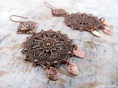 Antiqued copper earrings Boho earrings Round by Gypsymoondesigns