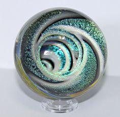 Handmade Aqua Contemporary Art Glass Marble 15