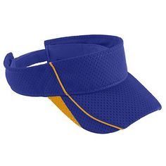 Augusta Sportswear Youth Athletic Three Panels Mesh Tricot Force Visor. 6286 Description   100% polyester athletic mesh with tricot backing, Three panels, Contrasting color piping on front and bill, Contrast color inserts on sides of bill, Sweatband folds down for easy embellishment, Pre-curved bill, Hook and loop fastener.