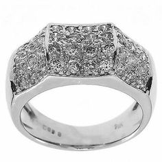 1.00 Cttw Round Diamonds Cocktail Ring in 14K White gold by GetDiamondsDirect on Etsy