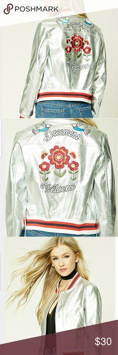 Selling this Dreamers Metallic Varsity Jacket on Poshmark! My username is: retaggedcloset. #shopmycloset #poshmark #fashion #shopping #style #forsale #Jackets & Blazers