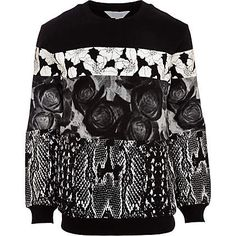 Black Systvm floral snake print sweatshirt - branded hoodies / sweatshirts - hoodies / sweatshirts - men (£60.00) - Svpply