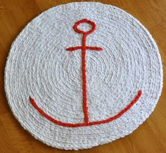 EKRA White and Red Nautical Anchor Round Crochet Area Rug. $70.00, via Etsy.